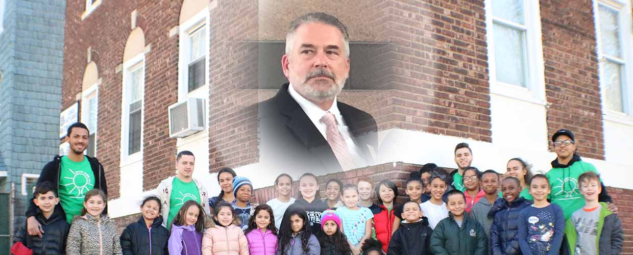 Photo collage shows funeral director John D'Arienzo behind the scene of youngsters participating in an after school program at the Settlement House in Brooklyn