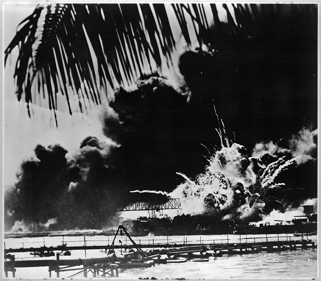 Pearl Harbor on Fire - Image from Library of Congress