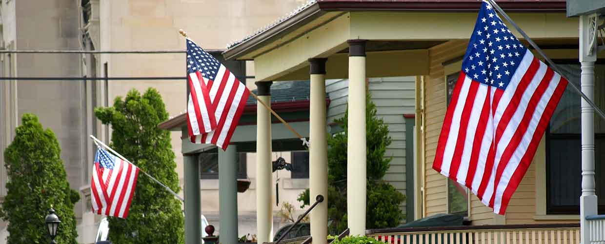 American flags displayed on homes