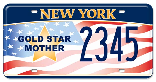 Like other states, New York offers a License Plate for Gold Star Mothers to be recognized