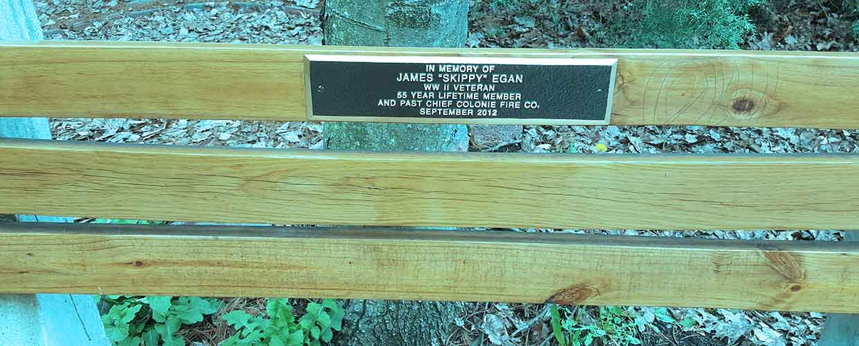 "A random memorial for WWII Veteran and longtime firefighter James ""Skippy"" Egan on a park bench in Colonie, NY. May he Rest in Peace."