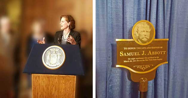 New York State Assemblywoman Patricia A. Fahy, left, and Samuel Abbott Plaque