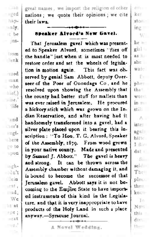 Abbott's gift of a gavel, noted in the April 10, 1879 issue of the Cortland Standard