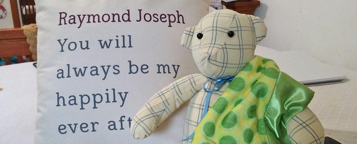 The bear that started it all: Mary Kirsten crafted this teddy bear out of her late husband's shirt, and she's made hundreds for the grieving ever since.