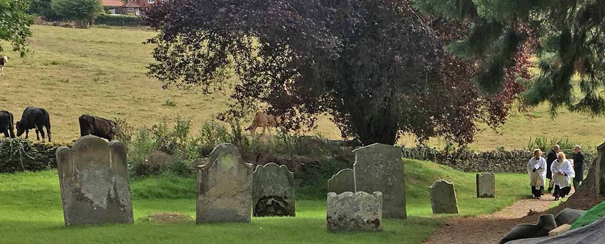 Procession to burial site at St. Mary's in Ebberston. Photo by Claire Potter