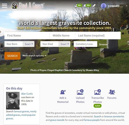 A view of the Find-A-Grave website