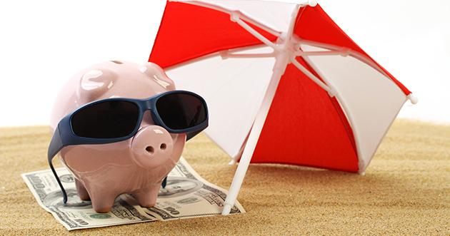 Cool piggy bank with sunglasses