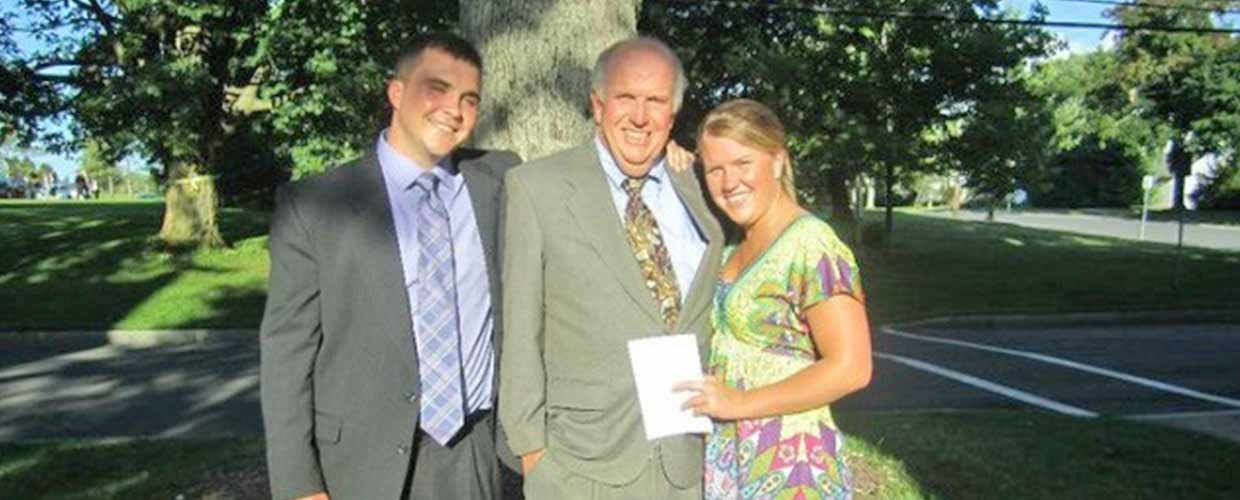 Funeral Director Dean Burns and his children, Tim and Virginia